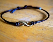 Infinity Bracelet Leather Bracelet Adjustable Antique Bronze Infinity Charm Infinite Love