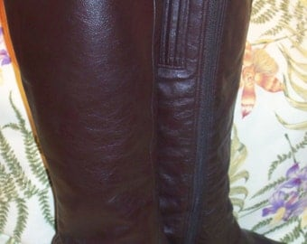 Vintage 70's Selby Brown Leather Knee High Boots, Size 7