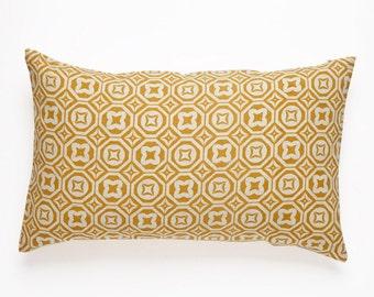 Karo Handscreen Printed Cushion Cover - Golden Yellow  30x50cm