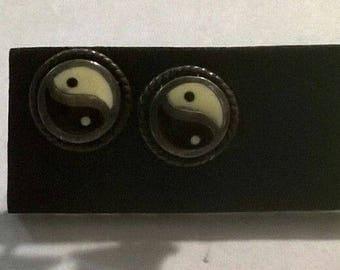 925 sterling silver yin yang stud earrings