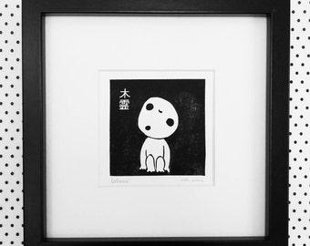 KODAMA, original lino print, studio ghibli