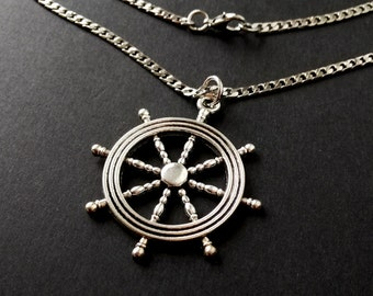 Nautical Rudder Necklace ,Antique Silver Nautical Rudder charm Necklace ,Gift for Dad, for Boy, best friend