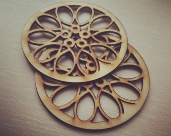 Set of 4 Laser Cut Wood Cup/Mug Coasters, Laser Cutting Cup holder, Coffee/Tea Cup Pad, Cup coaster, Moder design Laser Cut Unique Coaster