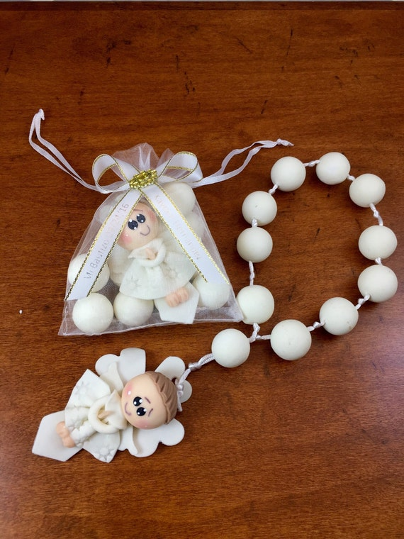 12 White Angel Boy Rosary Favors Baptism First Communion