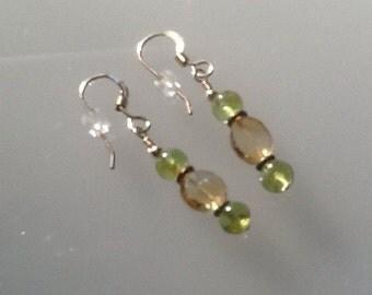Peridot and citrine earrings.  Citrine earrings. Peridot earrings.  Green and yellow earrings. August birthstone.  November birthstone.