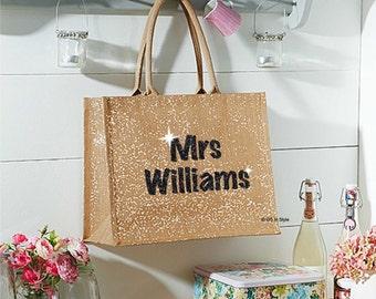 Personalised shimmer jute bag