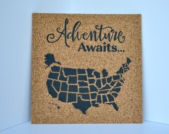 Adventure Awaits - Pinnable Cork Map of the USA - United States Travel Map / Bulletin Board