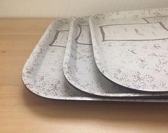 Vintage 1960s Boltabest Trays Set of Three Brown White 277 Paper Design Large Melamine Serveware George Nelson Irving Harper Rare Bolta Co