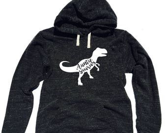 Triblend Fleece Pullover Hoodie Blessed Auntie Saurus - Aunt Hoodie - Dino Hoodie