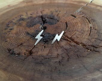 Lightning Stud Earrings; gold filled and sterling silver lightning studs
