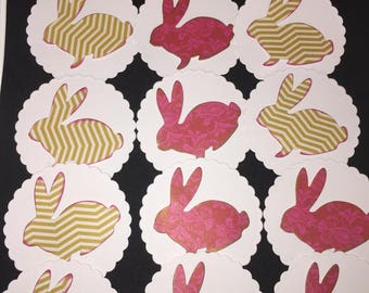 DIE CUT SHAPES/Embellishments/ cupcake toppers - bunny/rabbit x12