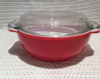 SALE Pyrex JAJ Weardale Deep Coral Red Easy Grip 2 pint Round Casserole Dish circa 1960