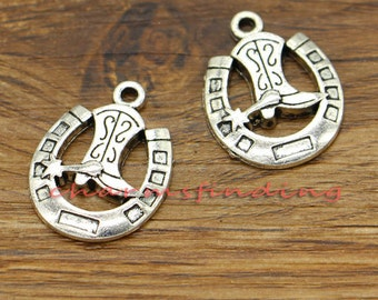 20pcs Cowboy Charms Cowboy Boot and Horseshoe Charms Antique Silver Tone 18x24mm cf1529