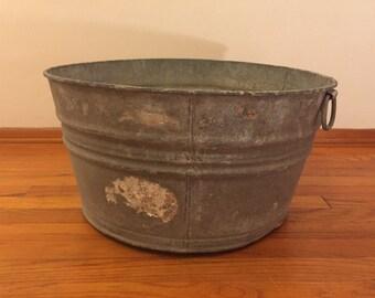 Large vintage galvanized tub