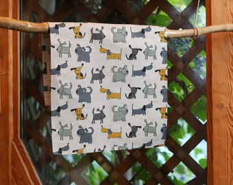 Linen cotton tea towel Dogs, dish towel, hand towel, kitchen towel with dogs 17,7'' x 27,6'' (45x70cm)