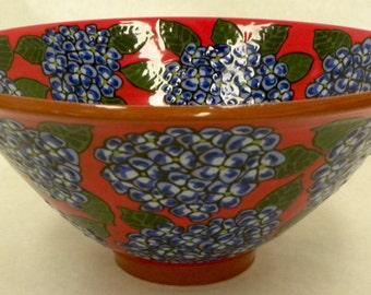 Swallowtail and Hydrangea Bowl