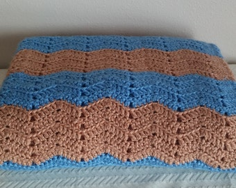 Vintage Blue and Brown Afghan, Vintage Afghan, Vintage Chevron Knit Afghan, Vintage Handmade Afghan, Vintage Linens, Vintage Throw