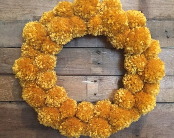 """Rustic Gold Pom Pom Wreath. Approx 16.5"""". Holiday Wreath. Door Wreath. Farmhouse Wreath. Everyday Wreath."""
