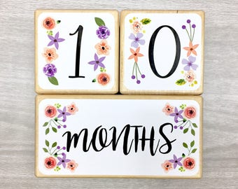 Baby Age Blocks - Baby Milestone Blocks - Flowers - Girl- Monthly Weekly Yearly Baby Blocks - Baby Shower Gift - Nursery Decor - Floral
