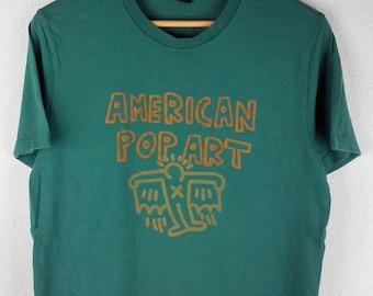 RARE!!! Keith Haring American Pop Art Big Logo Crew Neck Green Colour T-Shirts M Size
