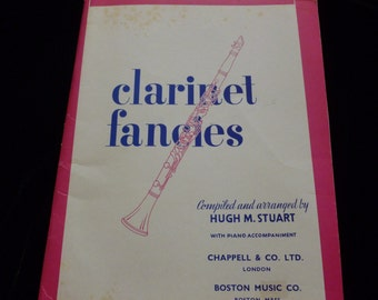 Vintage Sheet Music, Clarinet Fancies 1963, Classical Clarinet with Piano Accompaniment, Boston Music Company, Mixed Media, Ephemera