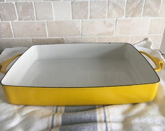Vintage Dansk Kobenstyle Oblong Yellow Small Casserole Lasagna Pan