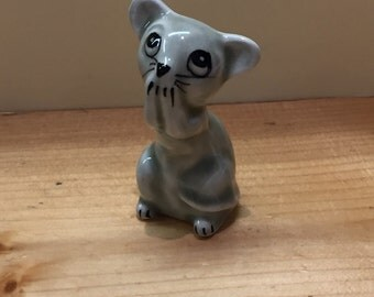 Vintage Mouse Ornament Cute Kitsch Porcelain Grey Mouse
