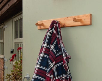 Vintage Style Coat Rack - Recycled Pine With Oak Hooks