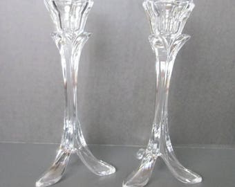 Crystal Footed Candle Holders  Cristal D'Arques Made in France