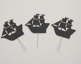 Pirate Ship Cupcake Toppers - One Dozen