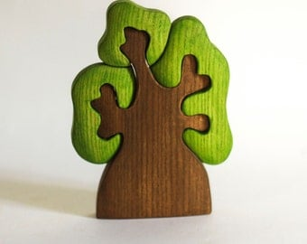Waldorf wooden Tree Wooden Puzzle eco friendly educational Infant Learning toys toddler gift Handcrafted forest fairy tale