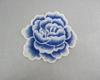 Blue Floral Applique Embroidery Patches