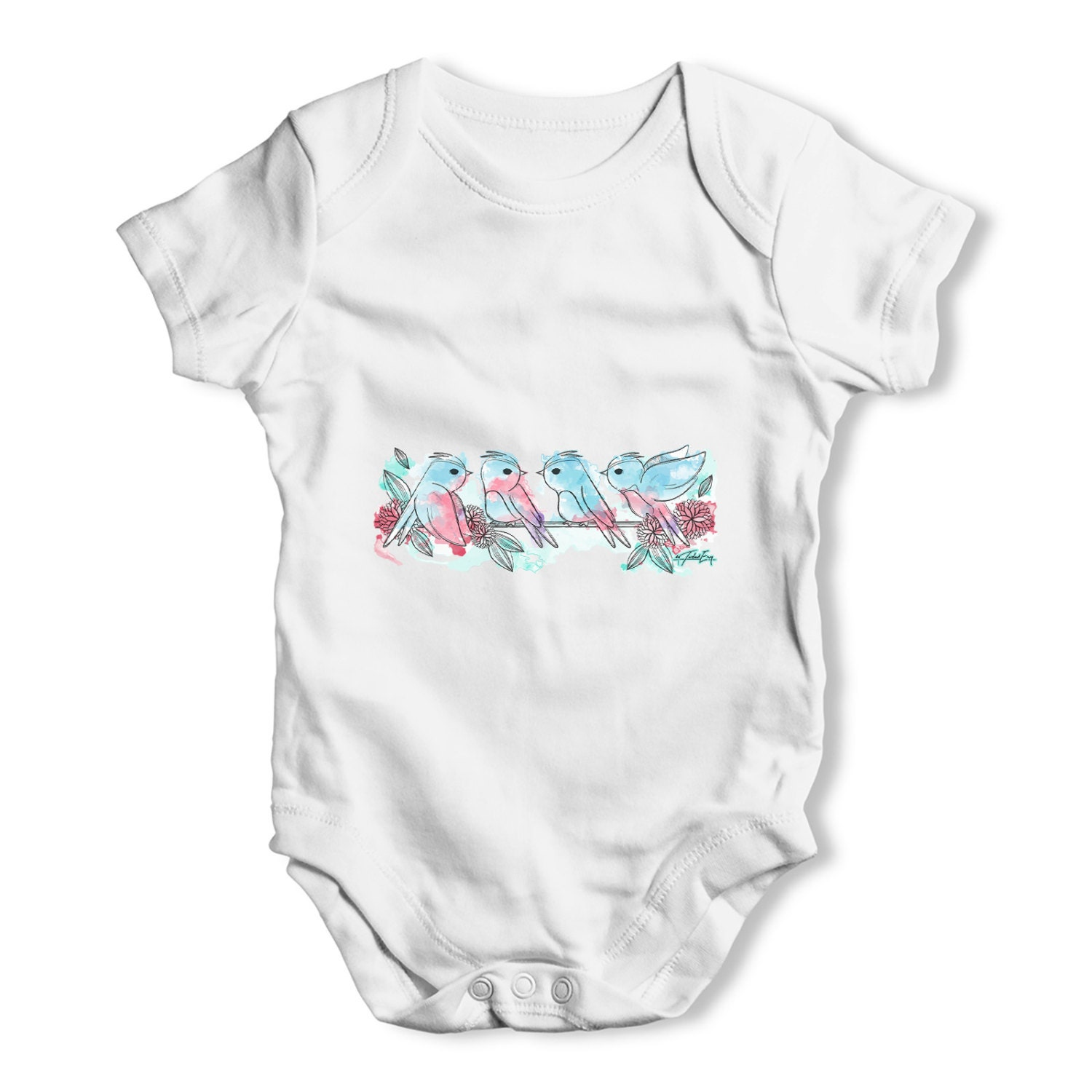 Beautiful Watercolour Spring Birds Baby Uni Funny Baby clothing