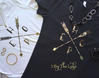 Metallic Gold or Silver Arrow, Hope Women's V Neck in Multiple Colors