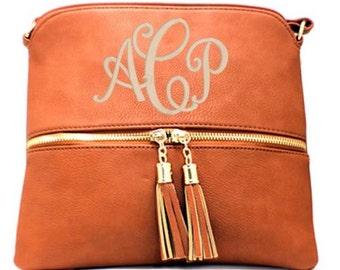 Camel tassel cross body hipster bag Monogrammed purse