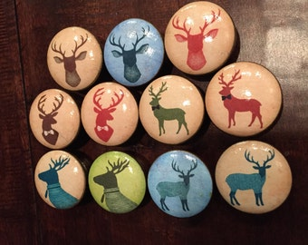 1.5 inch deer heads cabinet knobs drawer pulls brown blue red