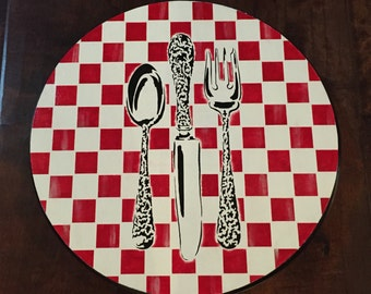 "15"" x .75"" lazy Susan Red and white checked kitchen silverware/utensils in black"