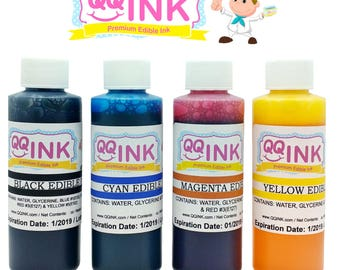 Premium Edible Ink Refill Combo Kit for Canon Printer - 4 oz Bottles (BK / C / Y / M) by QQink