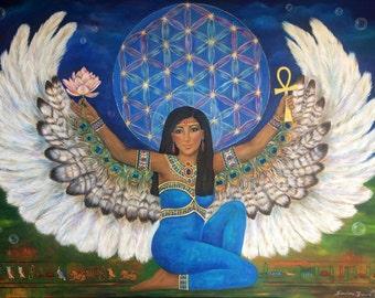 Goddess Isis Art Print, Flower of Life, Spirit Meditation Home Decor