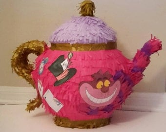 Teapot Alice in Wonderland cat piñata. Handmade. New