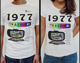 T-shirt women's T-shirts//Jersey year 1977//100% Cotton (sizes S, M, L, XL)-color TV event in Italy