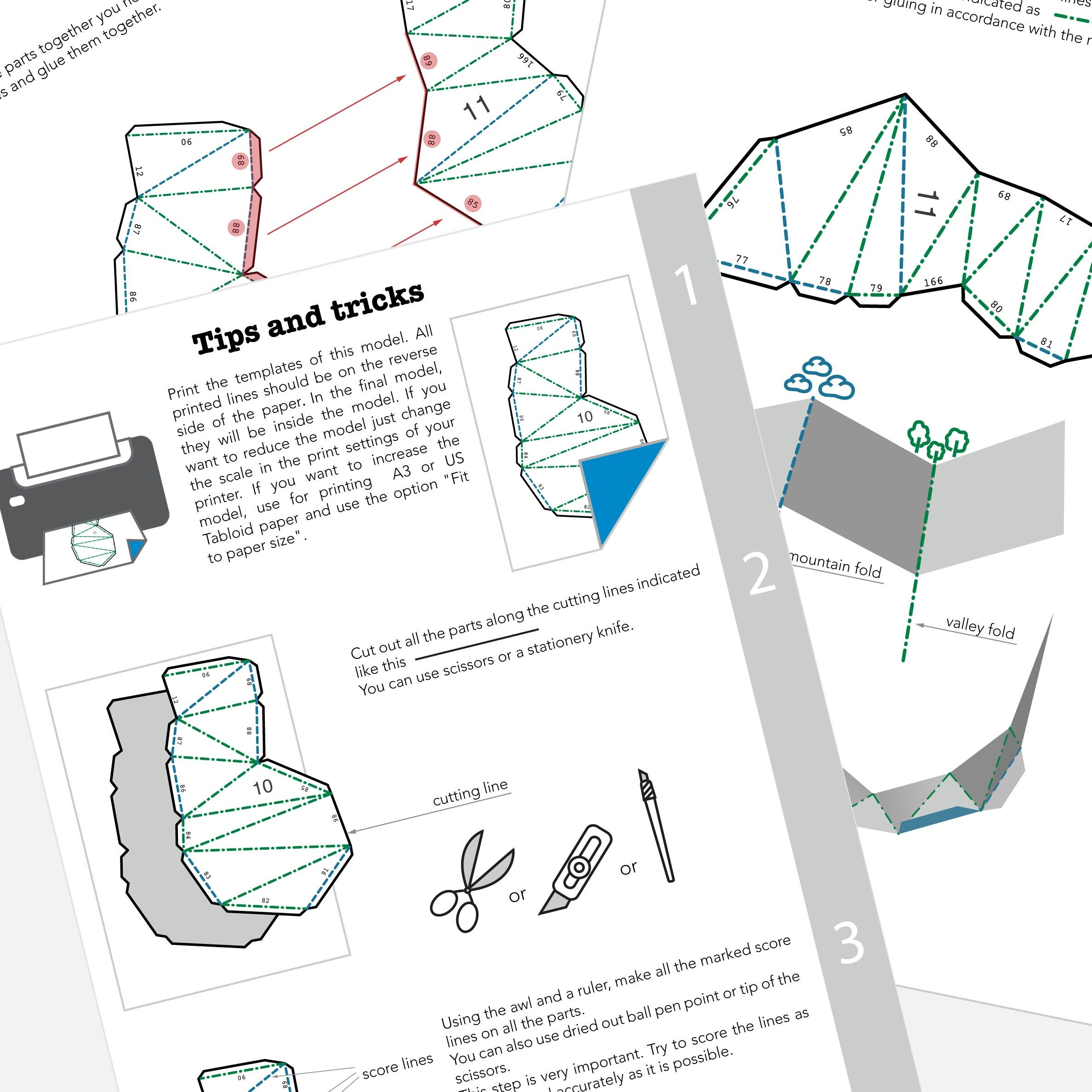 Printable diy template pdf pig low poly paper model 3d animal this is a digital file pooptronica