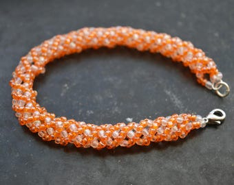 Orange/White Beaded Bracelet Russian Spiral Rope Stitch 18 cm