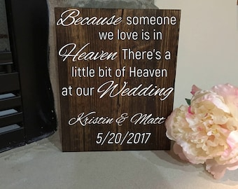 Wedding Sign//Memorial Sign//Wood sign//Rustic Wedding Memorial Sign//A Little Bit of Heaven at Our Wedding