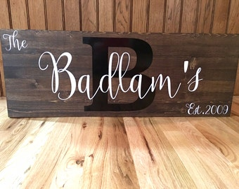 Family Sign//Established Sign//Rustic Family Sign//Last Name//12x32