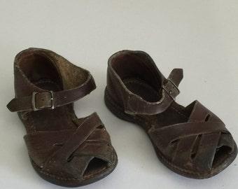 Vintage Children's Shoes, Vintage Sandals, Vintage Leather Sandals, Vintage Little Boy's Sandals