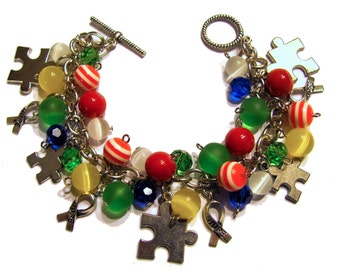 Autism Charm Bracelet Autism Awareness Beaded Red Yellow Blue Green Puzzle Piece