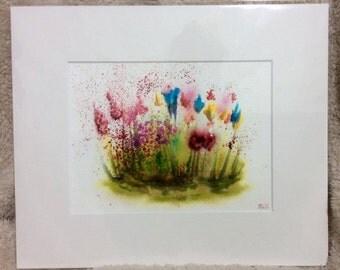 """Crimson country garden 12"""" x 10"""" original watercolour painting"""