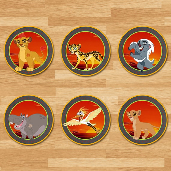 The Lion Guard Cupcake Toppers - Chalkboard - The Lion Guard Stickers - The Lion Guard Toppers - The Lion Guard Birthday Printables -