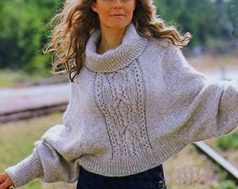 Sweater-poncho, Cable Knit Poncho, Women's poncho, Elegant poncho, Gift for her, Hand-knitted sweater